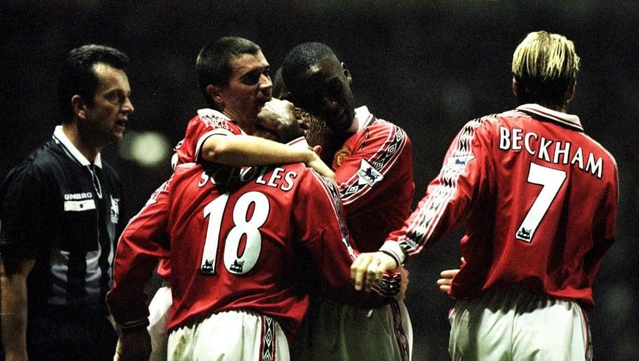 The Manchester United celebrate a goal