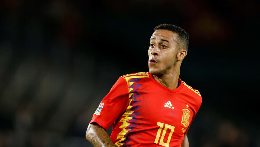 SEVILLA, SPAIN - OCTOBER 15: Thiago Alcantara of Spain during the  UEFA Nations league match between Spain  v England  at the Estadio Benito Villamarin on October 15, 2018 in Sevilla Spain (Photo by Eric Verhoeven/Soccrates/Getty Images)