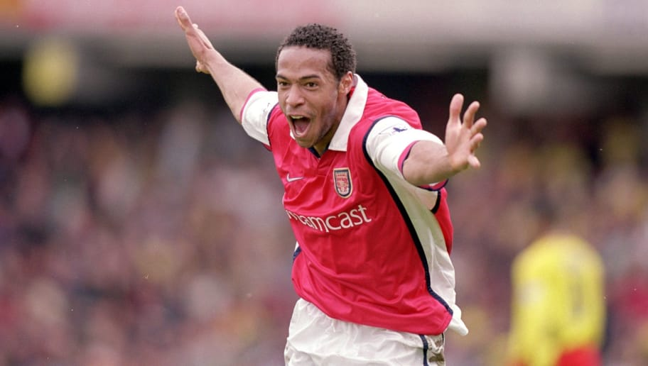 23 Apr 2000:  Thierry Henry of Arsenal celebrates during the FA Carling Premiership game between Watford and Arsenal at Vicarage Road in Watford, England. The game finished 2-3 to Arsenal. \ Mandatory Credit: Gary M Prior/Allsport