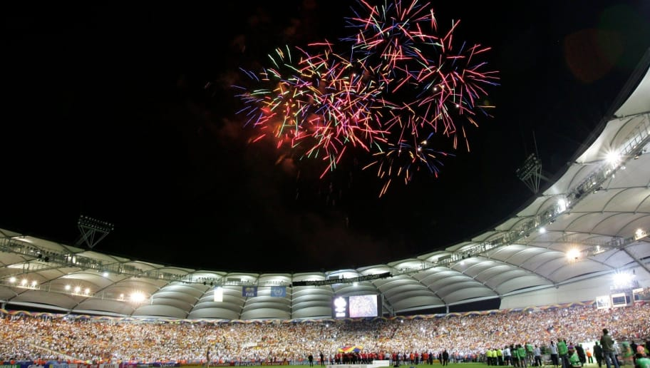 STUTTGART, GERMANY - JULY 08:  Fireworks explode over the stadium after the FIFA World Cup Germany 2006 Third Place Play-off match between Germany and Portugal played at the Gottlieb-Daimler Stadium on July 8, 2006 in Stuttgart, Germany.  (Photo by Alexander Hassenstein/Bongarts/Getty Images)