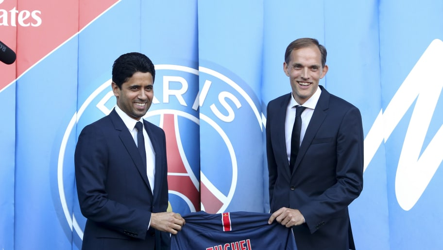 PARIS, FRANCE - MAY 20: Thomas Tuchel of Germany is presented by President of PSG Nasser Al Khelaifi (left) as new coach of Paris Saint-Germain (PSG) at Parc des Princes stadium on May 20, 2018 in Paris, France. (Photo by Jean Catuffe/Getty Images)