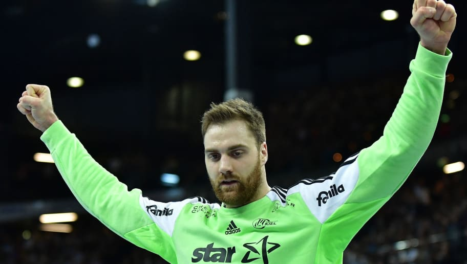 KIEL, GERMANY - FEBRUARY 22:  Andreas Wolff of Kiel celebrates during the DKB Handball Bundesliga game between THW Kiel and MT Melsungen  at Sparkassen Arena on February 22, 2017 in Kiel, Germany.  (Photo by Stuart Franklin/Bongarts/Getty Images)