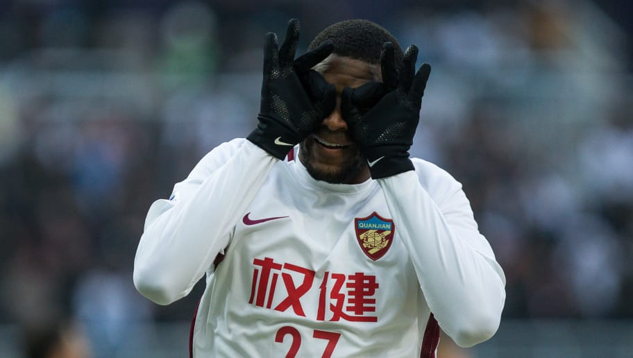 TIANJIN, CHINA - JANUARY 30:  Anthony Modeste #27 celebrates after scoring his second point the 2018 AFC Champions League qualifying match between Tianjin Quanjian and Ceres-Negros at Tianjin Olympic Center Stadium on January 30, 2018 in Tianjin, China.  (Photo by Yifan Ding/Getty Images)
