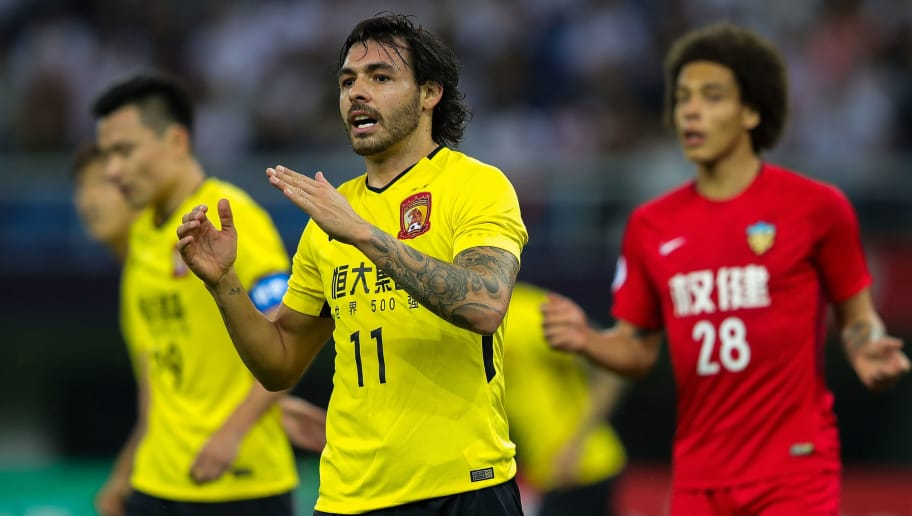 TIANJIN, CHINA - MAY 08:  Ricardo Goulart of Guangzhou Evergrande reacts during the AFC Champions League Round of 16 first leg match between Tianjin Quanjian and Guangzhou Evergrande at the Tianjin Olympic Center Stadium on May 8, 2018 in Tianjin, China.  (Photo by Lintao Zhang/Getty Images)