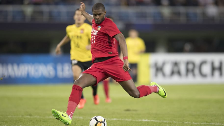 TIANJIN, CHINA - MAY 08:  Anthony Modeste #27 of Tianjin Quanjian in action during the AFC Champions League Round of 16 first leg match between Tianjin Quanjian and Guangzhou Evergrande at the Tianjin Olympic Center Stadium on May 8, 2018 in Tianjin, China.  (Photo by XIN LI/Getty Images)