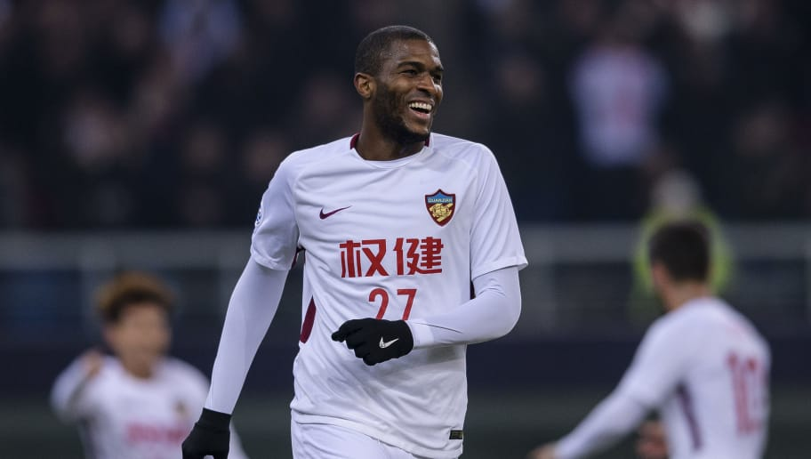 TIANJIN, CHINA - FEBRUARY 13: Tianjin Forward Anthony Modeste celebrating his score during the AFC Champions League 2018 round 1 of Group Stage E match between Tianjin Quanjian and Kitchee S.C at Tianjin Olympic Center Stadium on February 13, 2018 in Tianjin, China. (Photo by Power Sport Images/Getty Images)