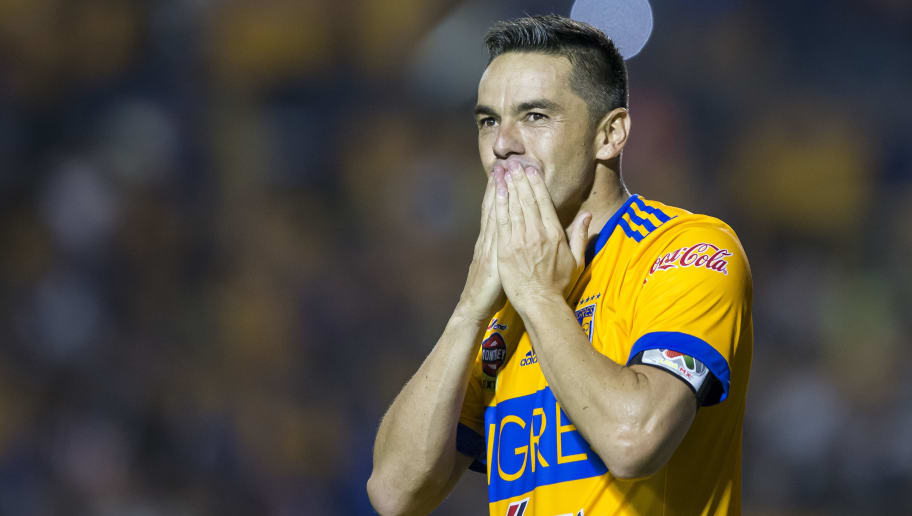 MONTERREY, MEXICO - SEPTEMBER 30: Juninho of Tigres celebrates after scoring his team's winning goal via penalty during the 12th round match between Tigres UANL and Chivas as part of the Torneo Apertura 2017 Liga MX at Universitario Stadium on September 30, 2017 in Monterrey, Mexico. (Photo by Azael Rodriguez/Getty Images)