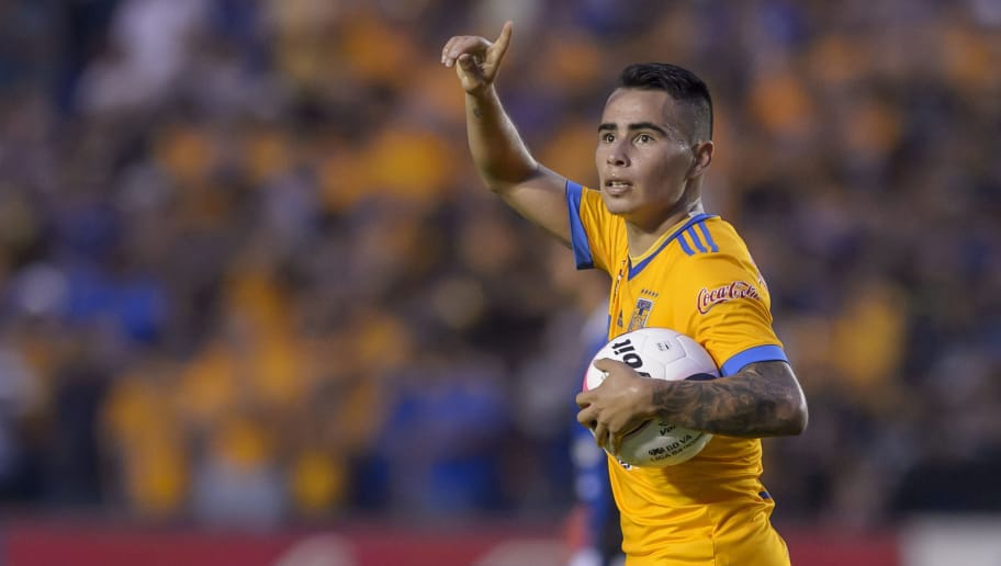 MONTERREY, MEXICO - AUGUST 05:  Lucas Zelarayan of Tigres celebrates after scoring his team's first goal during the 3rd round match between Tigres UANL and Puebla as part of the Torneo Apertura 2017 Liga MX at Universitario Stadium on August 05, 2017 in Monterrey, Mexico. (Photo by Azael Rodriguez/LatinContent/Getty Images)