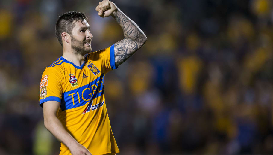 MONTERREY, MEXICO - MARCH 10: Andre-Pierre Gignac of Tigres celebrates after scoring his team's first goal during the 11th round match between Tigres UANL and Tijuana as part of the Torneo Clausura 2018 Liga MX at Universitario Stadium on March 10, 2018 in Monterrey, Mexico. (Photo by Azael Rodriguez/Getty Images)