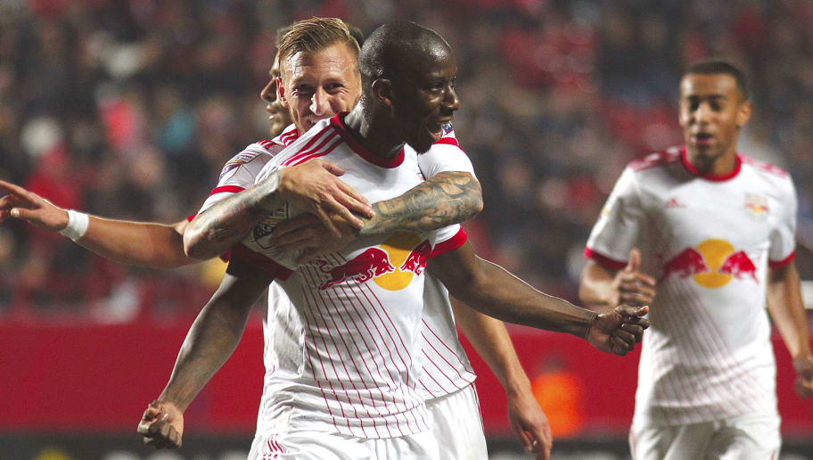 TIJUANA, MEXICO - MARCH 06: Bradley Wright-Phillips of New York Red Bulls celebrates with teammates after scoring the second goal of his team during the quarter finals first leg match between Tijuana and New York RB at Caliente Stadium on March 06, 2018 in Tijuana, Mexico. (Photo by Eduardo Teran/Jam Media/Getty Images)