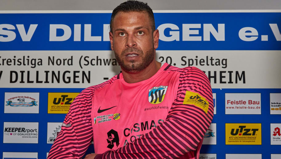 DILLINGEN, GERMANY - APRIL 01:  Goalkeeper  Tim Wiese of Dillingen    looks on  during the Kreisliga match between SSV Dillingen and TSV Haunsheim on April 1, 2017 in Dillingen, Germany. (Photo by TF-Images/Getty Images)