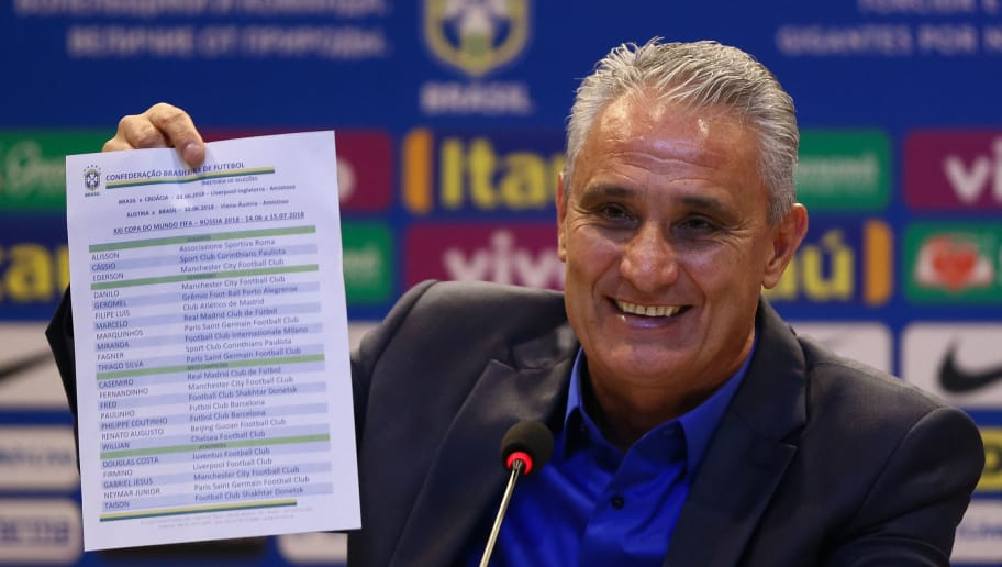 RIO DE JANEIRO, BRAZIL - MAY 14: Brazilian national team coach Tite speaks during the announcement of the team's squad for 2018 FIFA World Cup Russia on May 14, 2018 at the headquarters of the Brazilian Football Confederation (CBF) in Rio de Janeiro, Brazil. (Photo by Buda Mendes/Getty Images)