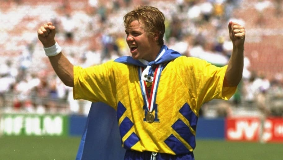 16 Jul 1994:  Tomas Brolin of Sweden celebrates after the World Cup third place play-off against Bulgaria at the Pasadena Rose Bowl in Los Angeles, California, USA. Sweden won the match 4-0. \ Mandatory Credit: Ben  Radford/Allsport