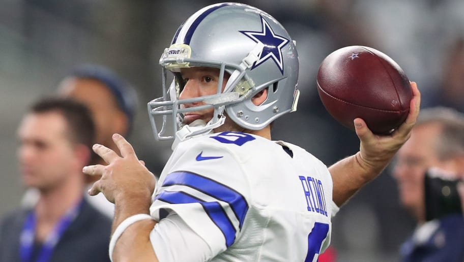 ARLINGTON, TX - JANUARY 15:  Tony Romo #9 of the Dallas Cowboys warms up on the field prior to the NFC Divisional Playoff game against the Green Bay Packers at AT&T Stadium on January 15, 2017 in Arlington, Texas.  (Photo by Tom Pennington/Getty Images)