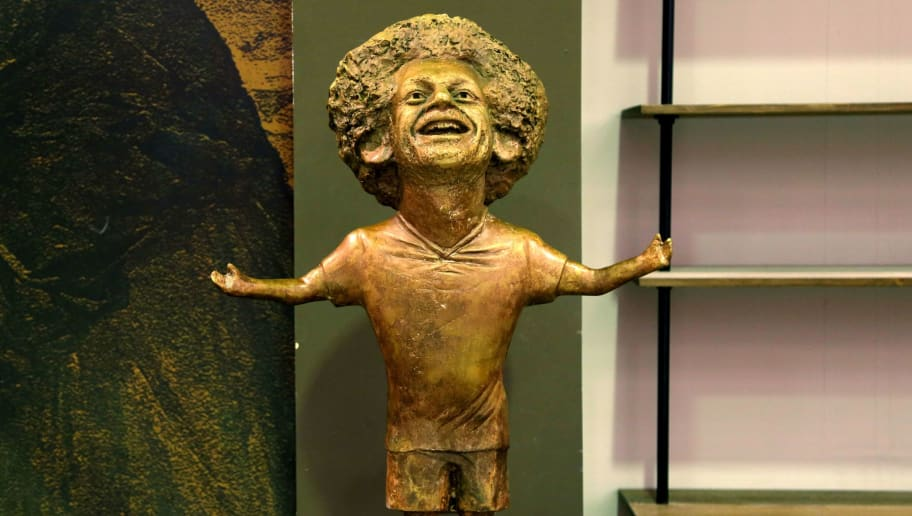 TOPSHOT - This picture shows a statue of Liverpool's Egyptian forward Mohamed Salah displayed at the World Youth Forum in Sharm El Sheikh, on November 5, 2018. (Photo by - / AFP)        (Photo credit should read -/AFP/Getty Images)