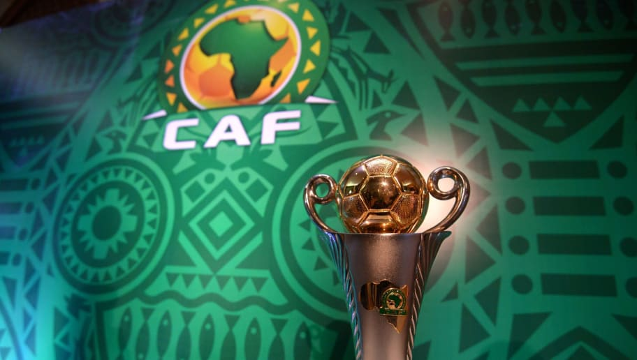 TOPSHOT - This picture shows the trophy prior to the draw of the Confederation of African Football's (CAF) Confederation cup at the Ritz Carlton Hotel in Cairo on December 28, 2018. (Photo by MOHAMED EL-SHAHED / AFP)        (Photo credit should read MOHAMED EL-SHAHED/AFP/Getty Images)
