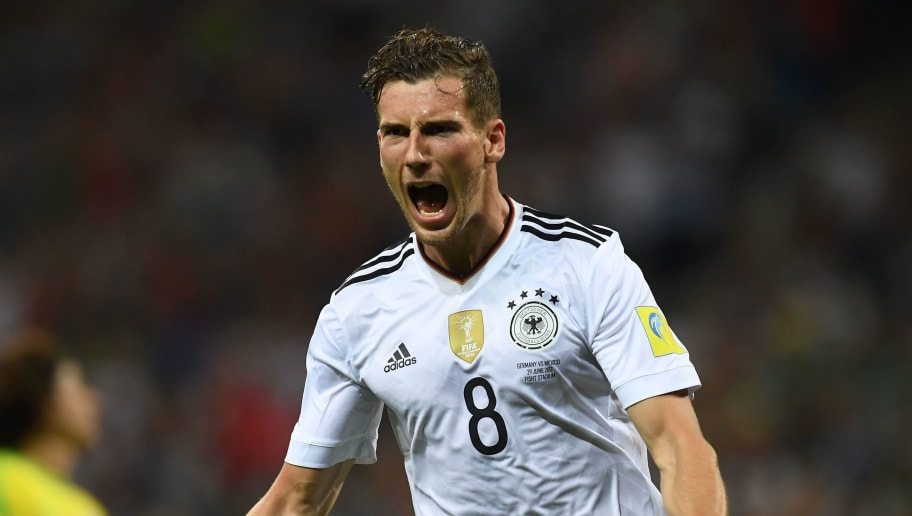 TOPSHOT - Germany's midfielder Leon Goretzka celebrates after scoring a goal during the 2017 FIFA Confederations Cup semi-final football match between Germany and Mexico at the Fisht Stadium in Sochi on June 29, 2017. / AFP PHOTO / FRANCK FIFE        (Photo credit should read FRANCK FIFE/AFP/Getty Images)
