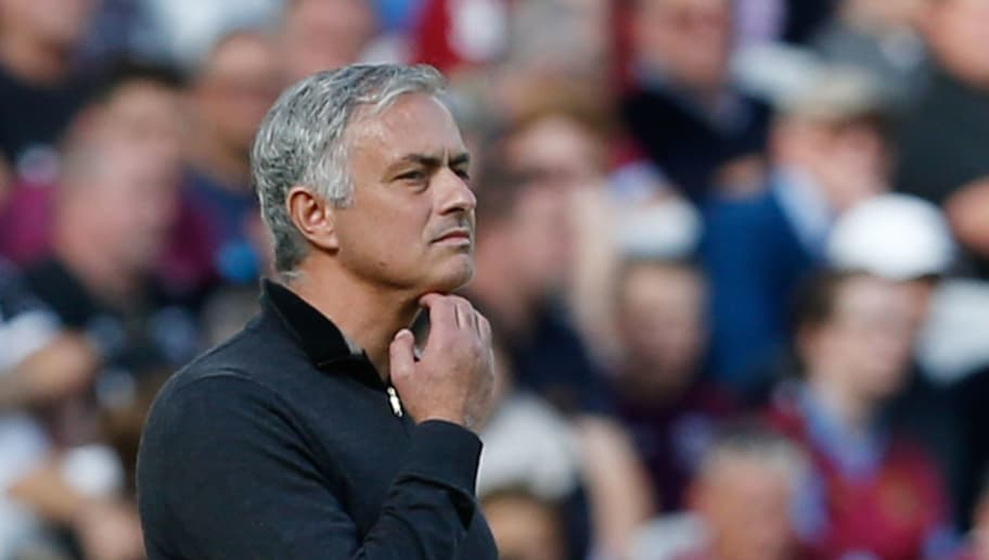 TOPSHOT - Manchester United's Portuguese manager Jose Mourinho gestures on the touchline during the English Premier League football match between West Ham United and Manchester United at The London Stadium, in east London on September 29, 2018. (Photo by Ian KINGTON / AFP) / RESTRICTED TO EDITORIAL USE. No use with unauthorized audio, video, data, fixture lists, club/league logos or 'live' services. Online in-match use limited to 120 images. An additional 40 images may be used in extra time. No video emulation. Social media in-match use limited to 120 images. An additional 40 images may be used in extra time. No use in betting publications, games or single club/league/player publications. /         (Photo credit should read IAN KINGTON/AFP/Getty Images)