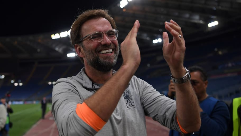 TOPSHOT - Liverpool's German manager Jurgen Klopp applauds the fans following the UEFA Champions League semi-final second leg football match between AS Roma and Liverpool at the Olympic Stadium in Rome on May 2, 2018. (Photo by Paul ELLIS / AFP)        (Photo credit should read PAUL ELLIS/AFP/Getty Images)