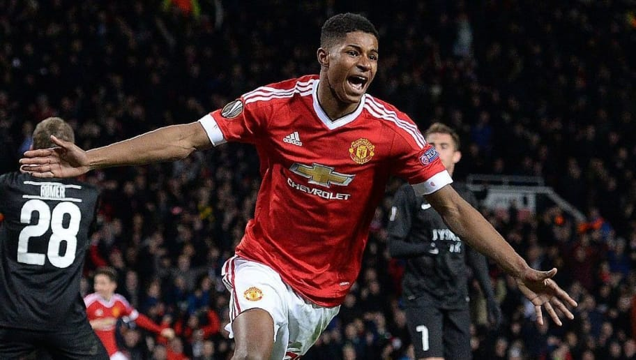 TOPSHOT - Manchester United's English striker Marcus Rashford celebrates scoring his team's third goal during the UEFA Europa League round of 32, second leg football match between Manchester United and and FC Midtjylland at Old Trafford in Manchester, north west England, on February 25, 2016. / AFP / OLI SCARFF        (Photo credit should read OLI SCARFF/AFP/Getty Images)