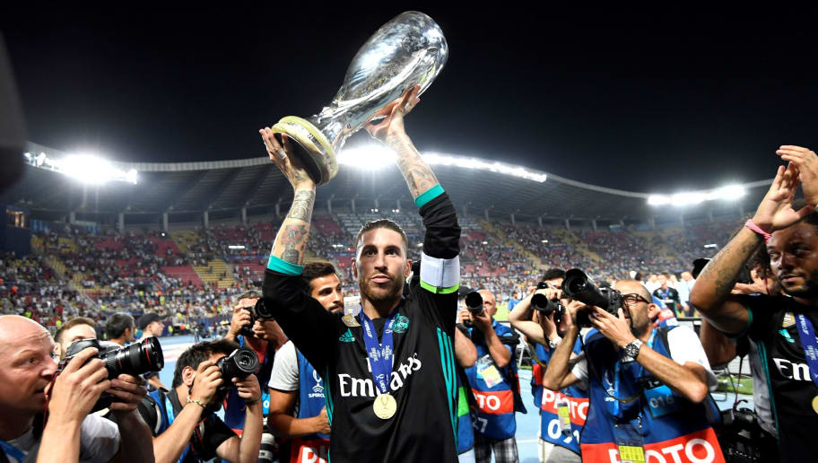 TOPSHOT - Real Madrid's Spanish defender Sergio Ramos holds the trophy after winning the UEFA Super Cup football match between Real Madrid and Manchester United on August 8, 2017, at the Philip II Arena in Skopje. / AFP PHOTO / Dimitar DILKOFF        (Photo credit should read DIMITAR DILKOFF/AFP/Getty Images)