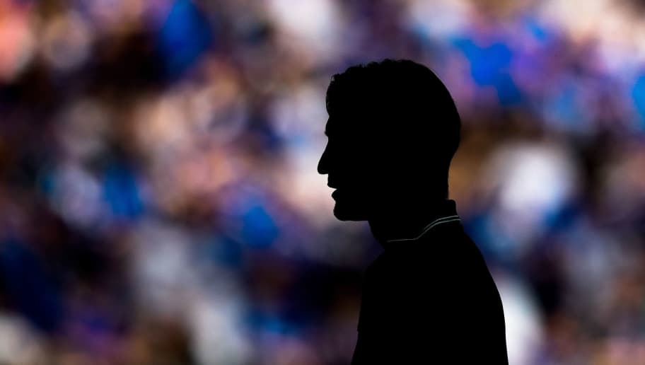 TOPSHOT - Frankfurt's Croatian head coach Niko Kovac's silouhette is seen during the German first division Bundesliga football match FC Schalke 04 vs Eintracht Frankfurt in Gelsenkirchen, western Germany, on May 12, 2018. (Photo by SASCHA SCHUERMANN / AFP) / RESTRICTIONS: DURING MATCH TIME: DFL RULES TO LIMIT THE ONLINE USAGE TO 15 PICTURES PER MATCH AND FORBID IMAGE SEQUENCES TO SIMULATE VIDEO. == RESTRICTED TO EDITORIAL USE == FOR FURTHER QUERIES PLEASE CONTACT DFL DIRECTLY AT + 49 69 650050        (Photo credit should read SASCHA SCHUERMANN/AFP/Getty Images)
