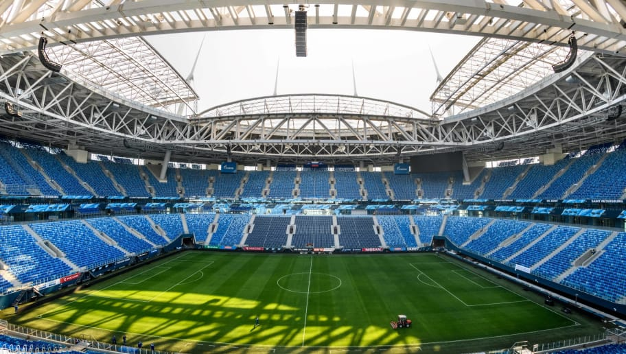 TOPSHOT - A photo taken on May 14, 2018 shows the pitch and the stands of Petersburg Arena in the city of St. Petersburg. - The 67 000 seater stadium will host six football matches of the 2018 FIFA World Cup including the semi-final and the match for third place. (Photo by Mladen ANTONOV / AFP)        (Photo credit should read MLADEN ANTONOV/AFP/Getty Images)