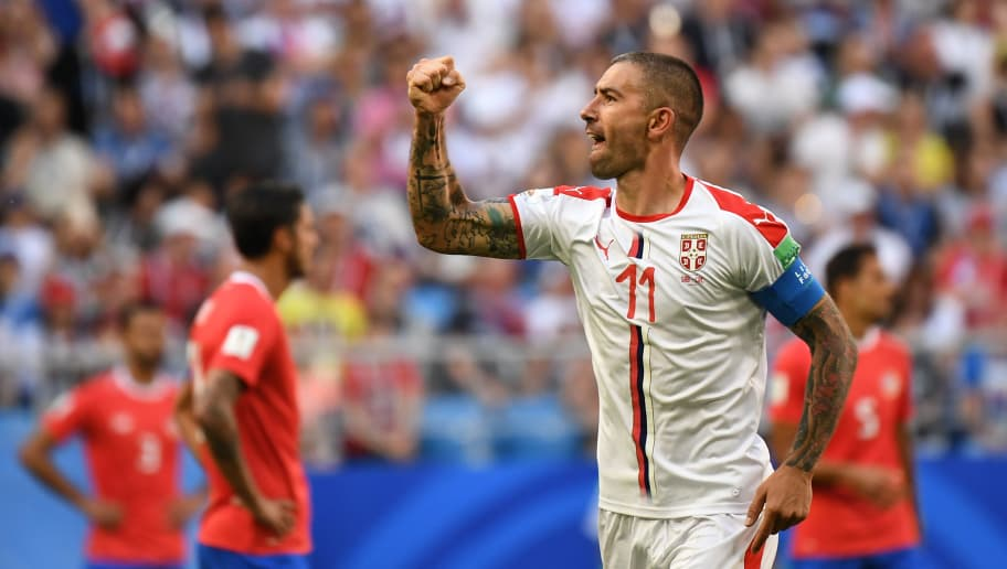 TOPSHOT - Serbia's defender Aleksandar Kolarov celebrates after scoring during the Russia 2018 World Cup Group E football match between Costa Rica and Serbia at the Samara Arena in Samara on June 17, 2018. (Photo by EMMANUEL DUNAND / AFP) / RESTRICTED TO EDITORIAL USE - NO MOBILE PUSH ALERTS/DOWNLOADS        (Photo credit should read EMMANUEL DUNAND/AFP/Getty Images)