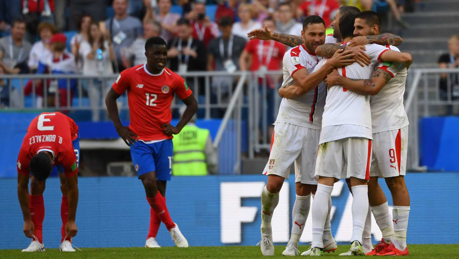 TOPSHOT - Serbia's players celebrate their victory at the end of the Russia 2018 World Cup Group E football match between Costa Rica and Serbia at the Samara Arena in Samara on June 17, 2018. (Photo by MANAN VATSYAYANA / AFP) / RESTRICTED TO EDITORIAL USE - NO MOBILE PUSH ALERTS/DOWNLOADS        (Photo credit should read MANAN VATSYAYANA/AFP/Getty Images)