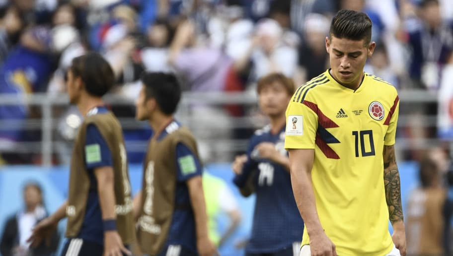 TOPSHOT - Colombia's midfielder James Rodriguez reacts at the end of the Russia 2018 World Cup Group H football match between Colombia and Japan at the Mordovia Arena in Saransk on June 19, 2018. (Photo by Filippo MONTEFORTE / AFP) / RESTRICTED TO EDITORIAL USE - NO MOBILE PUSH ALERTS/DOWNLOADS        (Photo credit should read FILIPPO MONTEFORTE/AFP/Getty Images)