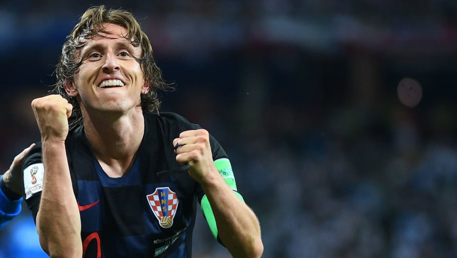 TOPSHOT - Croatia's midfielder Luka Modric celebrates after scoring their second goal during the Russia 2018 World Cup Group D football match between Argentina and Croatia at the Nizhny Novgorod Stadium in Nizhny Novgorod on June 21, 2018. (Photo by Johannes EISELE / AFP) / RESTRICTED TO EDITORIAL USE - NO MOBILE PUSH ALERTS/DOWNLOADS        (Photo credit should read JOHANNES EISELE/AFP/Getty Images)