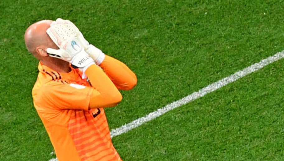 TOPSHOT - Argentina's goalkeeper Willy Caballero reacts after Croatia's goal during the Russia 2018 World Cup Group D football match between Argentina and Croatia at the Nizhny Novgorod Stadium in Nizhny Novgorod on June 21, 2018. (Photo by Martin BERNETTI / AFP) / RESTRICTED TO EDITORIAL USE - NO MOBILE PUSH ALERTS/DOWNLOADS        (Photo credit should read MARTIN BERNETTI/AFP/Getty Images)
