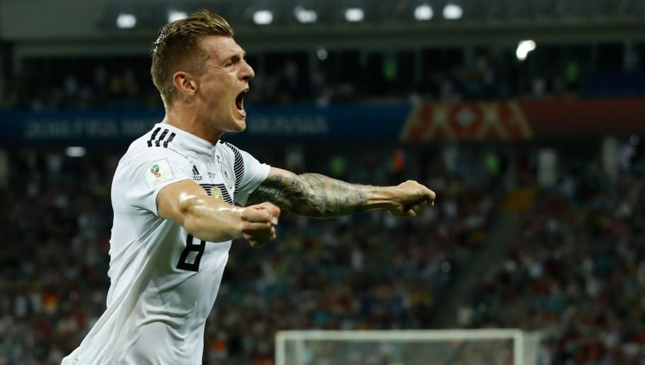 TOPSHOT - Germany's midfielder Toni Kroos celebrates after scoring a goal during the Russia 2018 World Cup Group F football match between Germany and Sweden at the Fisht Stadium in Sochi on June 23, 2018. (Photo by Odd ANDERSEN / AFP) / RESTRICTED TO EDITORIAL USE - NO MOBILE PUSH ALERTS/DOWNLOADS        (Photo credit should read ODD ANDERSEN/AFP/Getty Images)