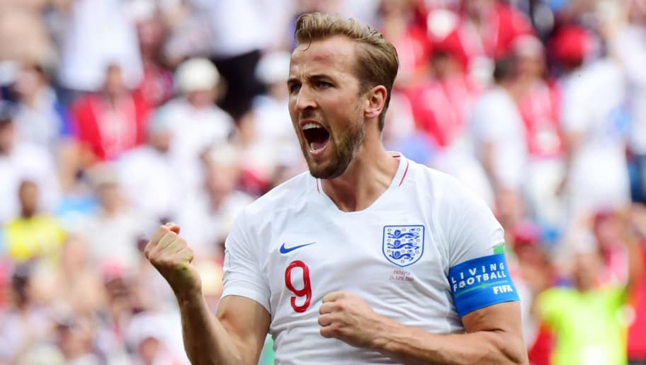 TOPSHOT - England's forward Harry Kane celebrates after scoring his team's fifth goal during the Russia 2018 World Cup Group G football match between England and Panama at the Nizhny Novgorod Stadium in Nizhny Novgorod on June 24, 2018. (Photo by Martin BERNETTI / AFP) / RESTRICTED TO EDITORIAL USE - NO MOBILE PUSH ALERTS/DOWNLOADS        (Photo credit should read MARTIN BERNETTI/AFP/Getty Images)