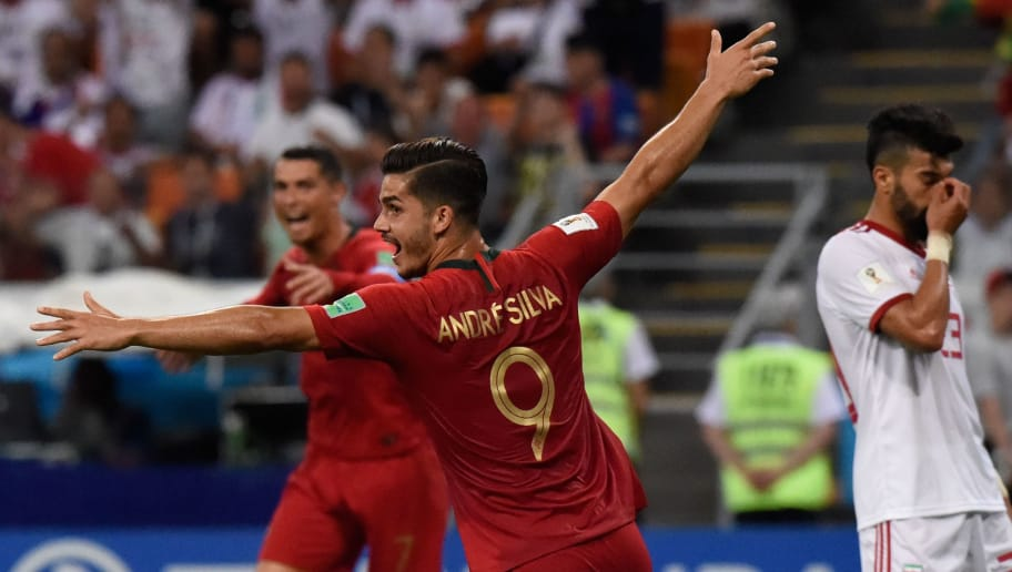TOPSHOT - Portugal's forward Andre Silva celebrates after his team scored during the Russia 2018 World Cup Group B football match between Iran and Portugal at the Mordovia Arena in Saransk on June 25, 2018. (Photo by JUAN BARRETO / AFP) / RESTRICTED TO EDITORIAL USE - NO MOBILE PUSH ALERTS/DOWNLOADS        (Photo credit should read JUAN BARRETO/AFP/Getty Images)