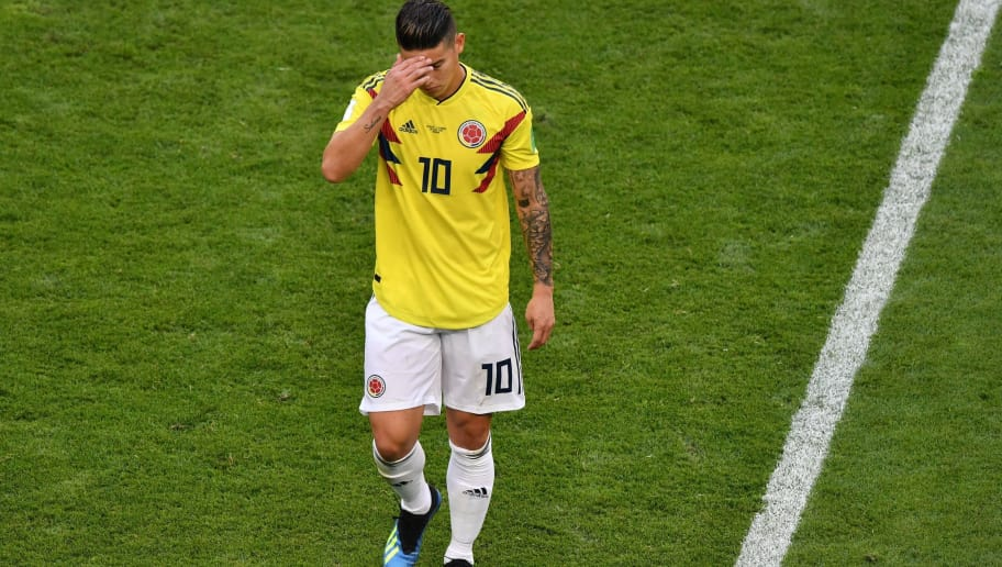 TOPSHOT - Colombia's midfielder James Rodriguez reacts as he leaves the football pitch due to an injury during the Russia 2018 World Cup Group H football match between Senegal and Colombia at the Samara Arena in Samara on June 28, 2018. (Photo by Fabrice COFFRINI / AFP) / RESTRICTED TO EDITORIAL USE - NO MOBILE PUSH ALERTS/DOWNLOADS        (Photo credit should read FABRICE COFFRINI/AFP/Getty Images)
