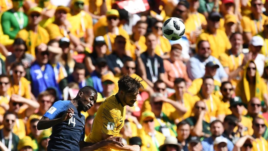 TOPSHOT - France's midfielder Blaise Matuidi (L) vies with Australia's forward Mathew Leckie during the Russia 2018 World Cup Group C football match between France and Australia at the Kazan Arena in Kazan on June 16, 2018. (Photo by FRANCK FIFE / AFP) / RESTRICTED TO EDITORIAL USE - NO MOBILE PUSH ALERTS/DOWNLOADS        (Photo credit should read FRANCK FIFE/AFP/Getty Images)