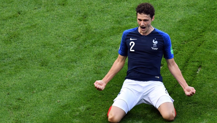 TOPSHOT - France's Benjamin Pavard celebrates after scoring his team's second goal during the Russia 2018 World Cup round of 16 football match between France and Argentina at the Kazan Arena in Kazan on June 30, 2018. (Photo by SAEED KHAN / AFP) / RESTRICTED TO EDITORIAL USE - NO MOBILE PUSH ALERTS/DOWNLOADS        (Photo credit should read SAEED KHAN/AFP/Getty Images)