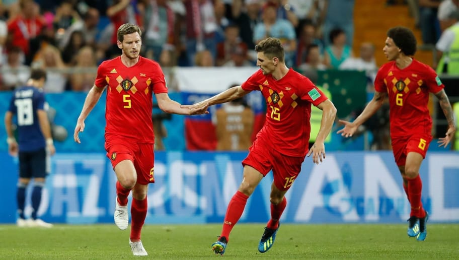 TOPSHOT - Belgium's defender Jan Vertonghen (L) celebrates with Belgium's defender Thomas Meunier (C) after scoring during the Russia 2018 World Cup round of 16 football match between Belgium and Japan at the Rostov Arena in Rostov-On-Don on July 2, 2018. (Photo by Odd ANDERSEN / AFP) / RESTRICTED TO EDITORIAL USE - NO MOBILE PUSH ALERTS/DOWNLOADS        (Photo credit should read ODD ANDERSEN/AFP/Getty Images)