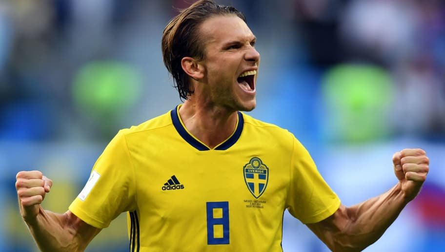 TOPSHOT - Sweden's midfielder Albin Ekdal celebrates their victory at the end of the Russia 2018 World Cup round of 16 football match between Sweden and Switzerland at the Saint Petersburg Stadium in Saint Petersburg on July 3, 2018. (Photo by Paul ELLIS / AFP) / RESTRICTED TO EDITORIAL USE - NO MOBILE PUSH ALERTS/DOWNLOADS        (Photo credit should read PAUL ELLIS/AFP/Getty Images)