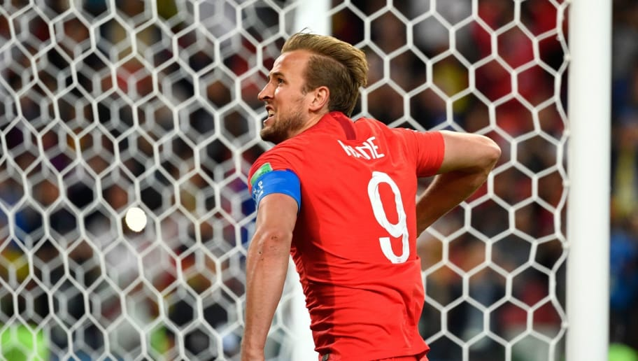 TOPSHOT - England's forward Harry Kane celebrates after scoring the opening goal from the penalty spot during the Russia 2018 World Cup round of 16 football match between Colombia and England at the Spartak Stadium in Moscow on July 3, 2018. (Photo by Alexander NEMENOV / AFP) / RESTRICTED TO EDITORIAL USE - NO MOBILE PUSH ALERTS/DOWNLOADS        (Photo credit should read ALEXANDER NEMENOV/AFP/Getty Images)