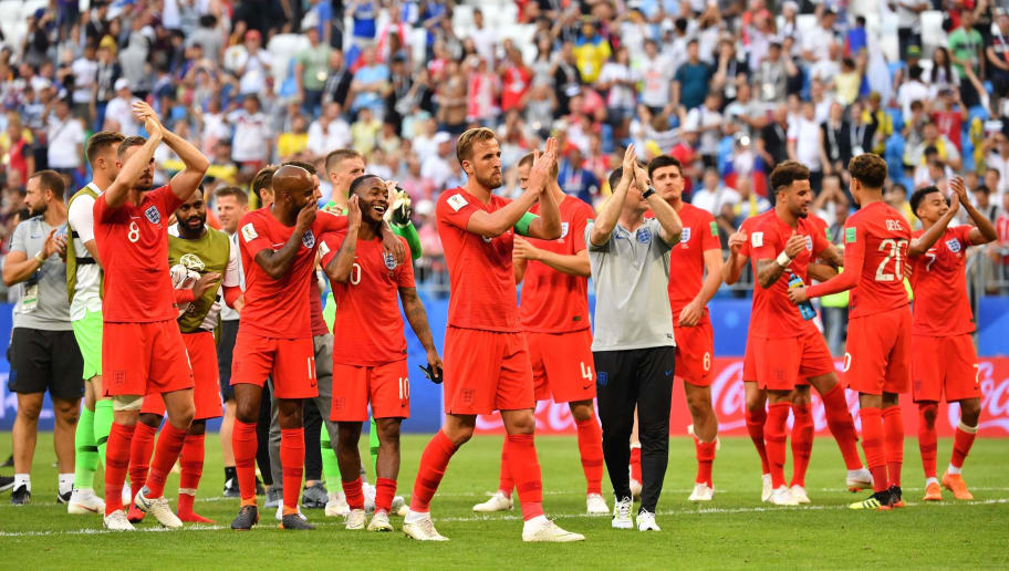 TOPSHOT - England's players celebrate at the end of the Russia 2018 World Cup quarter-final football match between Sweden and England at the Samara Arena in Samara on July 7, 2018. (Photo by Yuri CORTEZ / AFP) / RESTRICTED TO EDITORIAL USE - NO MOBILE PUSH ALERTS/DOWNLOADS        (Photo credit should read YURI CORTEZ/AFP/Getty Images)