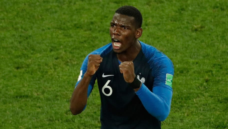TOPSHOT - France's midfielder Paul Pogba celebrates at the end of the Russia 2018 World Cup semi-final football match between France and Belgium at the Saint Petersburg Stadium in Saint Petersburg on July 10, 2018. (Photo by Adrian DENNIS / AFP) / RESTRICTED TO EDITORIAL USE - NO MOBILE PUSH ALERTS/DOWNLOADS        (Photo credit should read ADRIAN DENNIS/AFP/Getty Images)