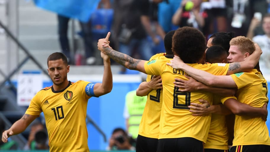 TOPSHOT - Belgium's forward Eden Hazard (L) reacts after Belgium's defender Thomas Meunier scored during their Russia 2018 World Cup play-off for third place football match between Belgium and England at the Saint Petersburg Stadium in Saint Petersburg on July 14, 2018. (Photo by Paul ELLIS / AFP) / RESTRICTED TO EDITORIAL USE - NO MOBILE PUSH ALERTS/DOWNLOADS        (Photo credit should read PAUL ELLIS/AFP/Getty Images)