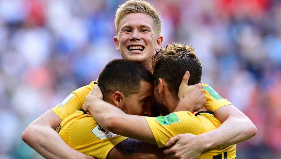 TOPSHOT - Belgium's forward Eden Hazard (L) celebrates with Belgium's forward Dries Mertens (R) and Belgium's midfielder Kevin De Bruyne after scoring their second goal during their Russia 2018 World Cup play-off for third place football match between Belgium and England at the Saint Petersburg Stadium in Saint Petersburg on July 14, 2018. (Photo by Giuseppe CACACE / AFP) / RESTRICTED TO EDITORIAL USE - NO MOBILE PUSH ALERTS/DOWNLOADS        (Photo credit should read GIUSEPPE CACACE/AFP/Getty Images)