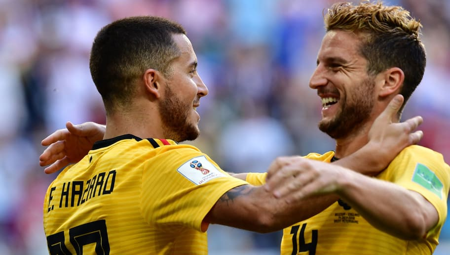 TOPSHOT - Belgium's forward Eden Hazard (L) celebrates with Belgium's forward Dries Mertens after scoring their second goal during their Russia 2018 World Cup play-off for third place football match between Belgium and England at the Saint Petersburg Stadium in Saint Petersburg on July 14, 2018. (Photo by Giuseppe CACACE / AFP) / RESTRICTED TO EDITORIAL USE - NO MOBILE PUSH ALERTS/DOWNLOADS        (Photo credit should read GIUSEPPE CACACE/AFP/Getty Images)