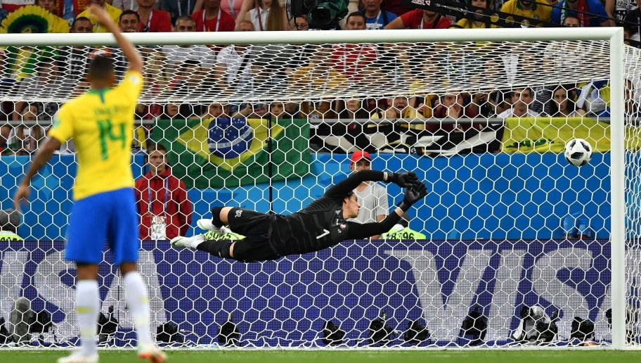 TOPSHOT - Switzerland's goalkeeper Yann Sommer watches a goal scored by Brazil's forward Philippe Coutinho (not in picture) during the Russia 2018 World Cup Group E football match between Brazil and Switzerland at the Rostov Arena in Rostov-On-Don on June 17, 2018. (Photo by JOE KLAMAR / AFP) / RESTRICTED TO EDITORIAL USE - NO MOBILE PUSH ALERTS/DOWNLOADS        (Photo credit should read JOE KLAMAR/AFP/Getty Images)