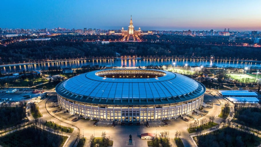 TOPSHOT - An aerial view taken with a drone late on April 23, 2018 shows the Luzhniki stadium and the main building of the Moscow State University in Moscow. (Photo by Dmitry SEREBRYAKOV / AFP)        (Photo credit should read DMITRY SEREBRYAKOV/AFP/Getty Images)