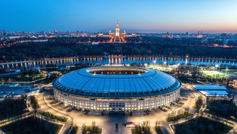 TOPSHOT - An aerial view taken late on April 23, 2018 shows the Luzhniki stadium and the main building of the Moscow State University in Moscow. (Photo by Dmitry SEREBRYAKOV / AFP)        (Photo credit should read DMITRY SEREBRYAKOV/AFP/Getty Images)