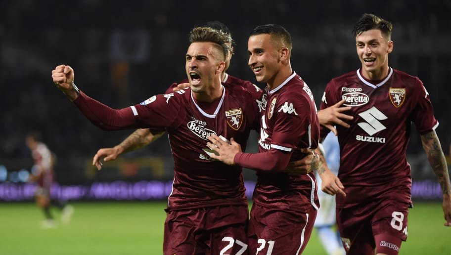 TURIN, ITALY - OCTOBER 05:  (L) Vittorio Parigini of FC Torino celebrates goal during the Serie A match between Torino FC and Frosinone Calcio at Stadio Olimpico di Torino on October 5, 2018 in Turin, Italy.  (Photo by Pier Marco Tacca/Getty Images)